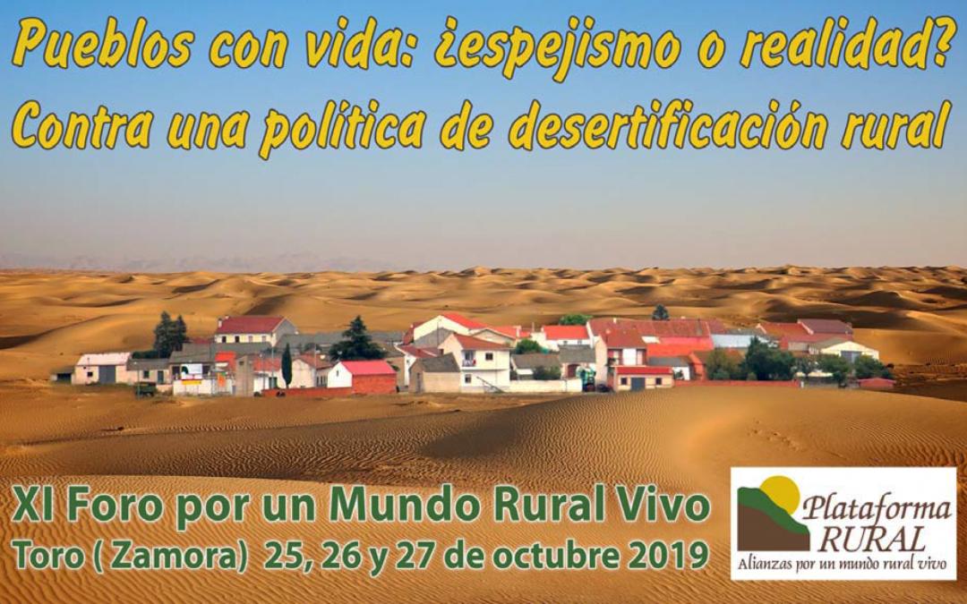 Plataforma Rural aplaza la celebración del XI Foro por un Mundo Rural Vivo a 2020