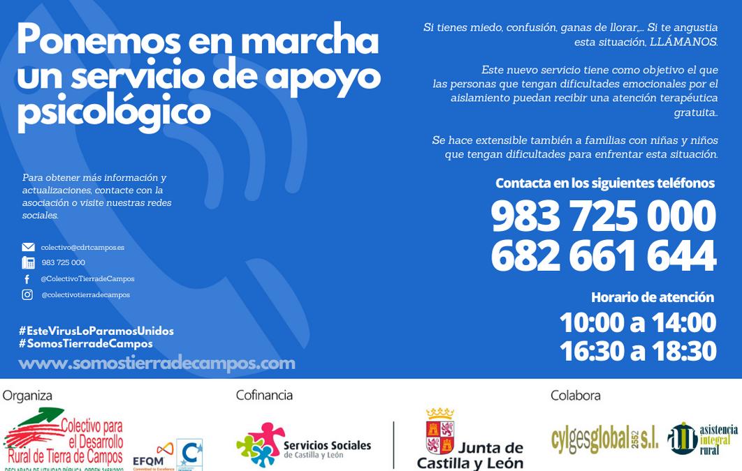 El Colectivo Tierra de Campos pone en marcha un servicio de apoyo psicológico